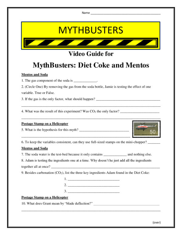 Mythbusters Diet Coke and Mentos Worksheet Season 4 - Conceptual ...