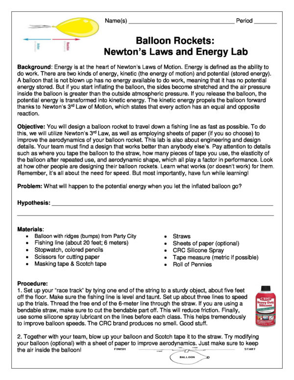 Balloon Rockets: Newton's Laws and Energy Lab