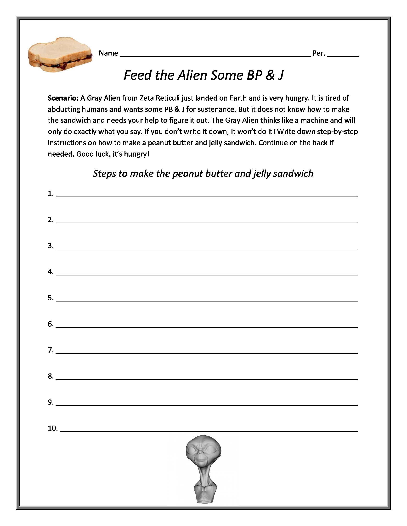 Worksheets Following Directions Worksheets For Middle School peanut butter and jelly lab following directions worksheet conceptual science lessons com