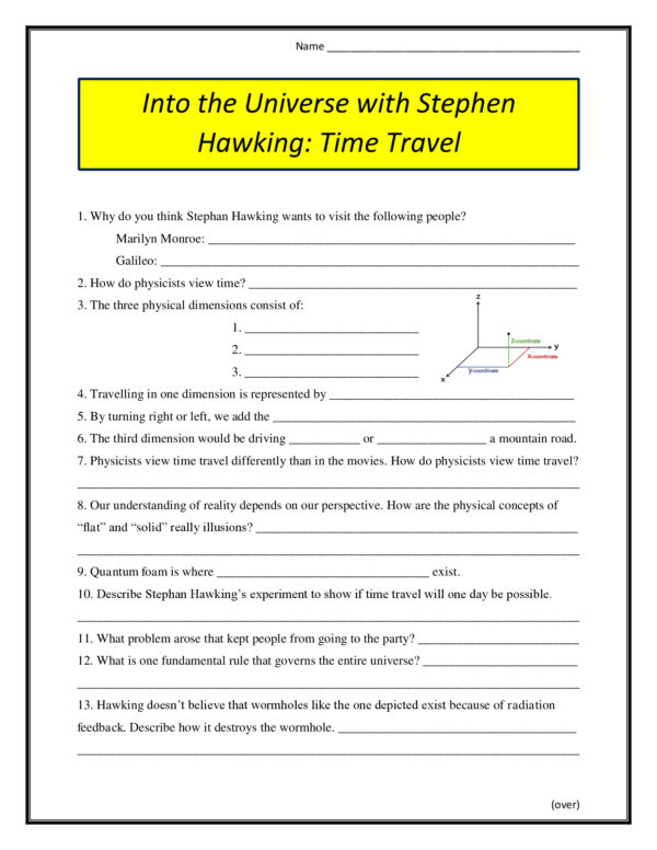 Into the Universe with Stephen Hawking: Time Travel Worksheet (2011)